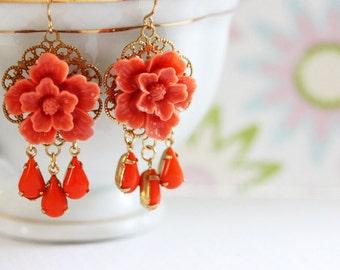 Coral Chandelier Earrings Coral Flower Earrings Red Flower Earrings