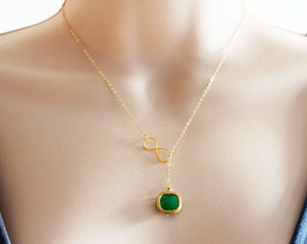 Emerald Lariat Necklace Emerald Green Necklace Infinity Emerald Gold Necklace Wedding Bridal Necklace