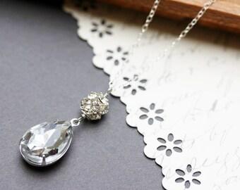 Vintage Crystal Rhinestone Necklace Teardrop Necklace Wedding Necklace  Silver Pendant Necklace