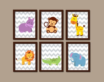 Jungle ANIMALS Wall Art, CANVAS or Prints, Safari Theme, Baby Boy Nursery Artwork, Playroom Pictures, Elephant Monkey Lion Giraffe Set of 6