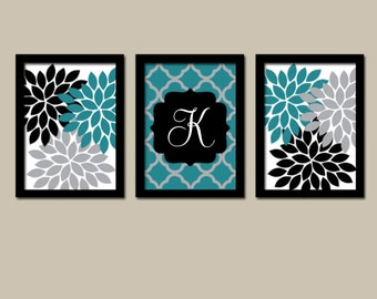 Teal bedroom decor etsy for Teal and gray bathroom decor