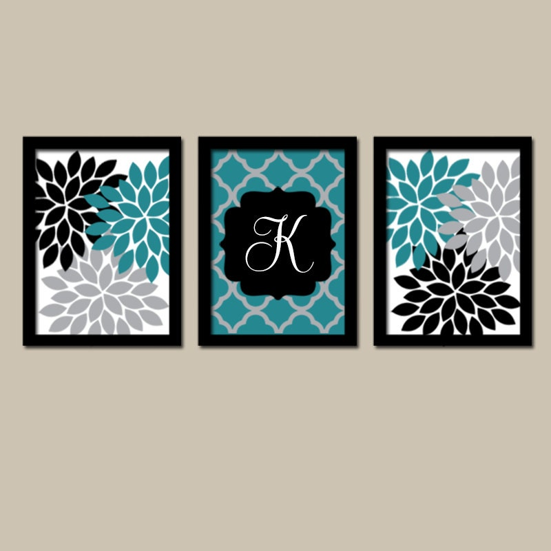 Teal black wall art flower wall art bedroom canvas or prints for Teal and black bathroom accessories