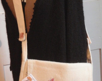 Recycled Felted and Embroidered Bag- White Wool with Flowers
