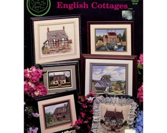 English Cottages Cross Stitch Pattern - Cross My Heart CSB59 - Six Cottage Designs