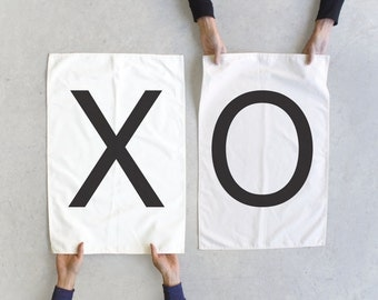 Tea towel set - XO towels - Valentines Day gift - couples gift - wedding gift - modern typography towel set - made in USA - home decor
