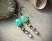 Ametrine Earrings with Chrysoprase, Foam Green, Purple, Sage Green