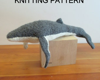 Humpback Whale Knitting Pattern, Felted Stuffed Toy PDF download