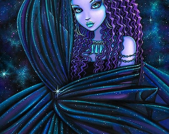 Nova Celestial Djinn Purple Nebula Fairy Limited Edition Canvas ACEO