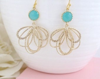 Mint Green Glass Jewel With Gold Feather Earrings. Glass Jewel Drop Earrings, Bridal Wedding Jewelry Bridesmaids Gift Earrings