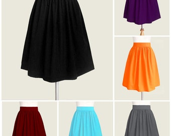 Fully lined skirt with pockets - custom size, length, color for your everyday look / party / bridesmaids in black, blue, navy, green