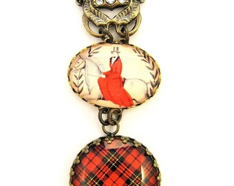Scottish Tartan Jewelry - Ancient Romance Series - Brodie Tartan Fob Necklace with 18th Century Regal Lady Equestrian