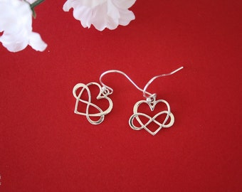 Silver Infinity Earrings, BFF, Infinite Friendship, Sterling Silver, heart shape, couples, Thank you card