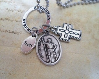 St. Joan of Arc Charm Necklace, Patron Saint of Women, Courage, Bravery, Spiritual Strength,  Holy Medal Necklace, Catholic Jewelry