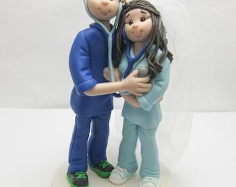 Nurse Wedding Cake Topper,Custom wedding cake topper, personalized cake topper, Bride and groom cake topper, Mr and Mrs cake topper