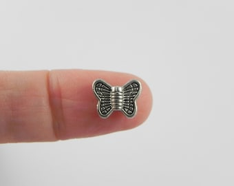 24 Butterfly Beads - Antiqued Silver - 8mm x 10mm
