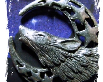 WICCA Pagan howling WOLF totem moon and stars Pewter PENDANT with a black necklace cord