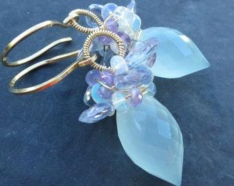 Aqua chalcedony earrings in 14k gold fill - short beaded dangle - Ethiopian opal, blue quartz, amethyst - mermaid earring - gemstone jewelry