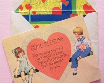 Vintage Valentine's Day Card in Art Deco Lined Envelope