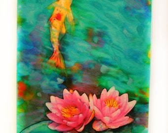 Koi morning mist, 5x7 inches, Art, Original art, wood mounted, mixed media photograph, turquoise decor, little gifts, fish ponds #Koi art