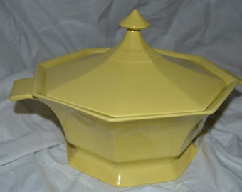 Vintage Independence Ironstone interpace yellow serving bowl with lid casserole Japan