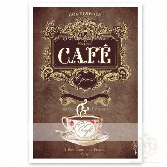 French cafe print kitchen print coffee vintage by for French kitchen artwork
