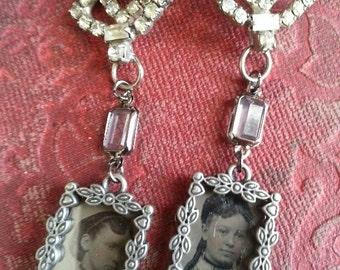 Family Wearlooms earrings: The Sisters #2, Tin Type Photo Dangle Assemblage earrings
