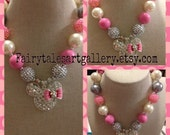 Minnie Mouse Bling Bling  Pink White Polka Dot Chunky Bubblegum Bead Necklace Holiday Sale