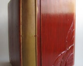 Photo album Wooden covers Photo book Red Upcycled