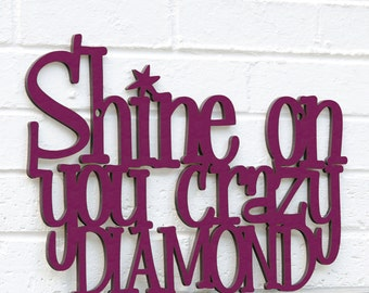 Shine On You Crazy Diamond, Pink Floyd Sign, Pink Floyd Quote, Guy Ritchie Quote, Funky Wood Sign, Wood Sign Decor, Wood Word Sign