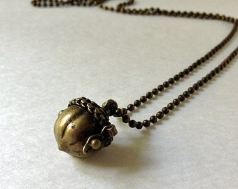 Acorn / hinged opening prayer box /  pendant  nut necklace / locket for a necklace