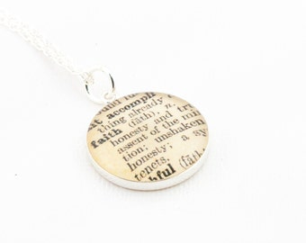 Sterling Silver Definition of FAITH Pendant and Necklace - Vintage Dictionary