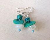 Moonstone Blue Sterling Silver Earrings Rustic Petite Simple Dainty Post Leaverback Earrings Handmade Jewelry California Handcrafted