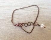 Dainty Sweet Heart Bracelet Metalwork Copper Pearl Bracelet Love Simple Petite Handmade Jewelry Rustic Bohemian Jewelry
