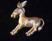 Golden Trifari Donkey Mule Pin Red Eye 70s
