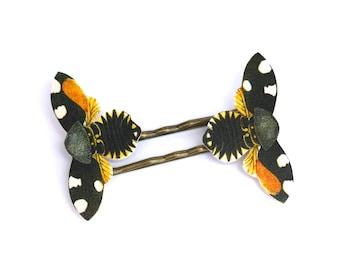 Batik Butterfly Bobby Pins - Batik Bobby Pins - Bee Bobby Pins - Butterfly  Bobby Pins - Shrink Plastic - Butterfly Jewelry - Bee Jewelry