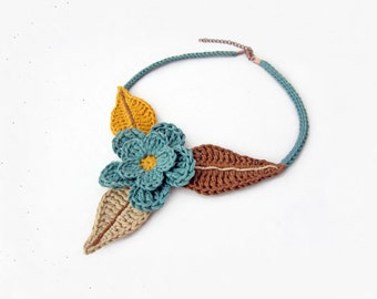 Crochet necklace,crochet choker,tribal necklace,tribal choker,flower necklace,flower choker,leaves necklace,leaves choker,green,brown,vegan