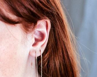 Chain Post Earrings for Double Pierced Ears, Minimalist Silver Earrings