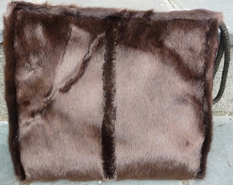 Vintage Fur Hand Muff Warmer- Wrist Strap- Ruched Satin Back- Attached Coin Purse- Zipper Pocket- Womens Brown Wristlet- 30s 40s 1940s 1930s