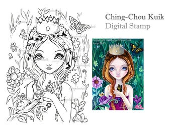 The Wild Princess - Digital Stamp Instant Download / Butterfly Snail Flower Girl Fantasy Art by Ching-Chou Kuik