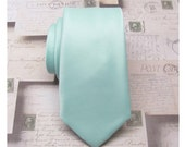 Beach Glass Mens Ties. Sea Glass Inspired by Donna Morgan's Beach Glass Seafoam Blue Silk Skinny Tie With Matching Pocket Square Option