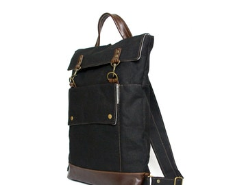 Ready to Ship - Professional Backpack, Mens Womens Backpack, Laptop Backpack, Commuter Bag, Back to School, Canvas Leather