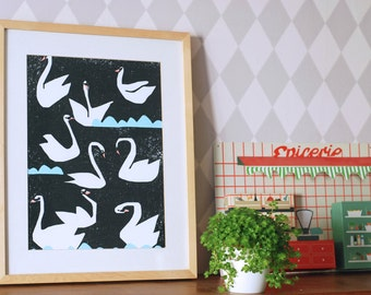 SUMMER SALE! A3 size swan poster Night Swans