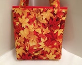 Autumn Leaves, Gift Tote Bag, Gift Wrap, Wrapping Paper, Birthday, Goody Bag, Fall Harvest, Seasonal Tote, Nut Bag
