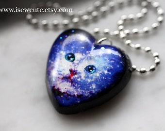 Cosmic Space Kitten Necklace - Galaxy Cat Necklace - Galaxy Print Jewelry - Pet Portrait Heart Pendant, Nebula Necklace Handmade by isewcute