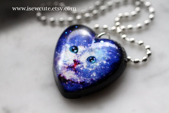 Cosmic Space Kitten Necklace Galaxy Cat Necklace by isewcute