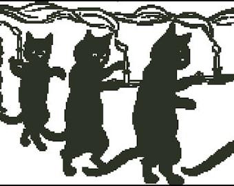 Vintage Cats cross stitch pattern, crochet  No.789