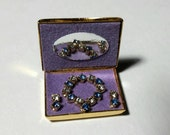 Jewelry box necklace earrings vintage miniature doll house