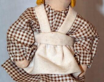 Handmade Vintage Miniature Prairie Doll Artist Signed