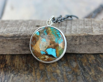 Kingman Boulder Turquoise and silver necklace,  Men and Women necklace,  Statement necklace