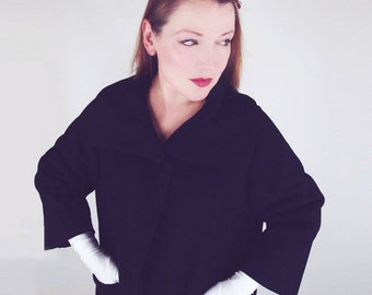 50s Black Wool Coat with Dramatic Large Collar L